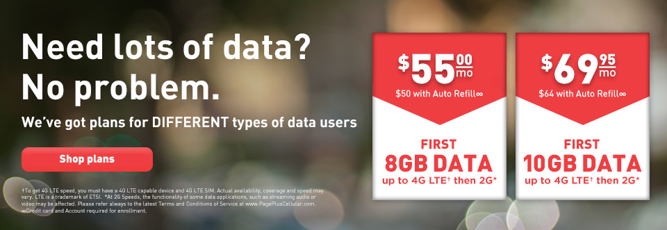 Need lots of data? No problem, we have plans for different types of data users, shop plans.